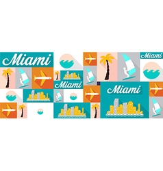Travel and tourism icons miami vector