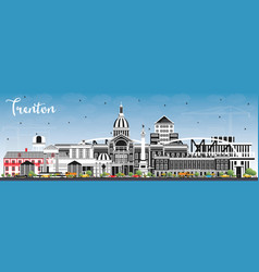 Trenton new jersey city skyline with color vector