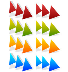 triple 3 arrows in more colors locate fast vector image