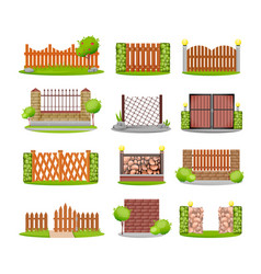 various decorative wooden metal stone fences vector image