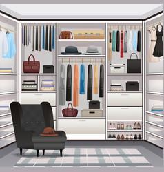 Wardrobe cloakroom interior realistic vector