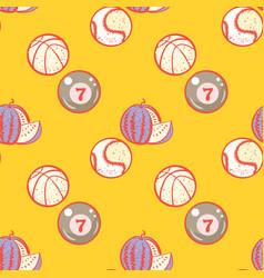 Watermelon billiards basketball and baseball vector
