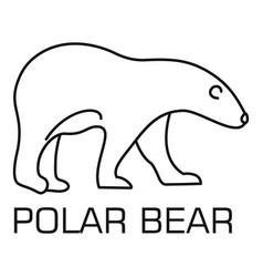 White bear logo outline style vector