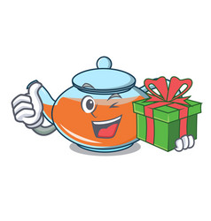 with gift transparent teapot character cartoon vector image