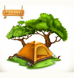 hiking dome tent camping 3d icon vector image