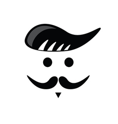 mustache face black vector image vector image