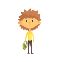 serious boy with spiky brown hair primary school vector image vector image