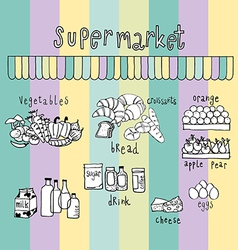 supermarket doodle colorful vector image vector image