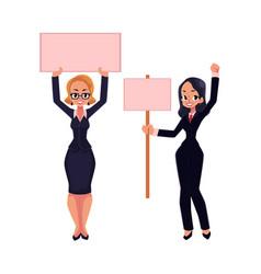 Two girls women businesswomen on strike holding vector