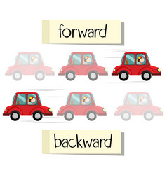 opposite wordcard for forward and backward vector image