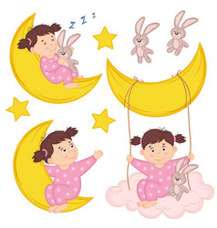 set of isolated girl on moon vector image vector image