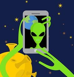 Alien makes selfie in space Space alien takes vector image