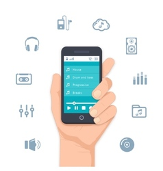Hand holding a mobile MP3 player vector image vector image