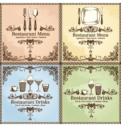 restaurant cutlery and drinks set vector image vector image