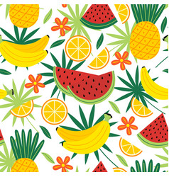 Seamless pattern with tropical fruits vector
