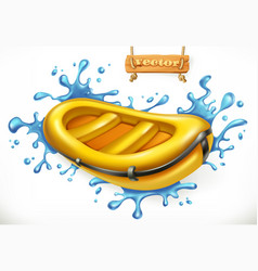 inflatable boat white water rafting 3d icon vector image