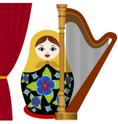 Musician with harp vector