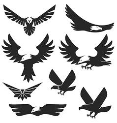 Set of the eagles icons and logo templates vector image vector image