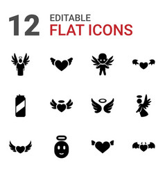12 angel icons vector