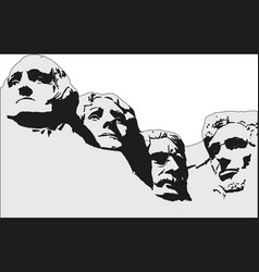 4 presidents at mount rushmore national memorial vector