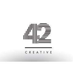 42 black and white lines number logo design vector