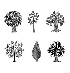 A set of hand-drawn trees tattoo vector