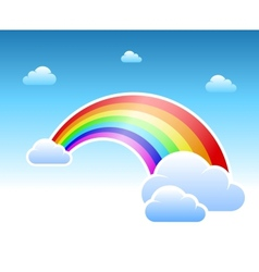 Abstract rainbow and clouds symbol vector image