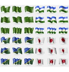 Adygea Bashkortostan Solomon Islands Japan Set of vector