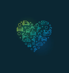 Auto body painting heart line colored vector