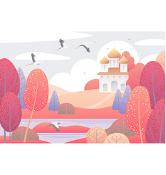 Autumn scene with church and colorful trees vector