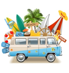 Beach concept with bus vector