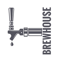 Beer tap logo of brewhouse on white background vector