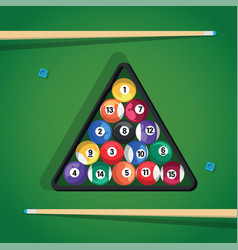 billiard stick and pool balls in triangle on green vector image