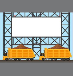 Border template with two lorry trucks vector