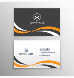 Business card template with wave shapes vector
