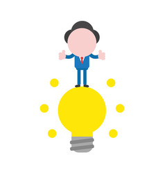 businessman character standing on glowing light vector image