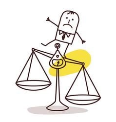 Cartoon businessman and justice imbalance vector