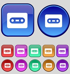 Cassette icon sign A set of twelve vintage buttons vector image