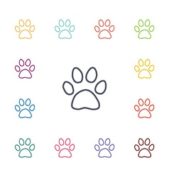 cat footprint flat icons set vector image