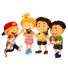 Children holding their pets cartoon character vector