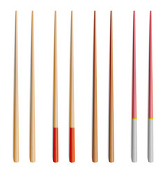 Chopsticks set realistic wooden set of vector