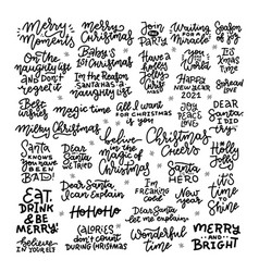 christmas hand drawn black big lettering set xmas vector image