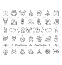 christmas icons set pig icons chinese zodiac 2019 vector image