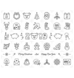 christmas icons set pig icons chinese zodiac 2019 vector image