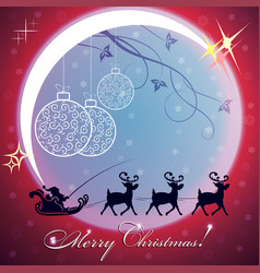 Christmas red background with big bright moon vector