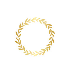 circle golden gradient laurel wreath in flat style vector image