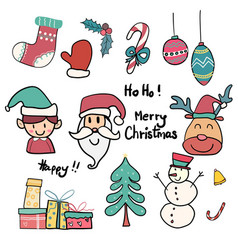Collection of cute doodle christmas icon vector
