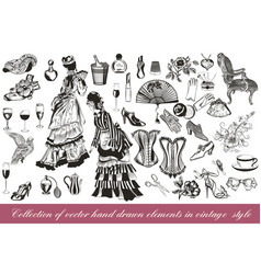 Collection of fashion lady set accessories vector