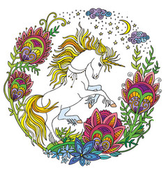 colorful cute unicorn with flowers vector image