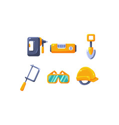 cute construction hand tools level shovel vector image